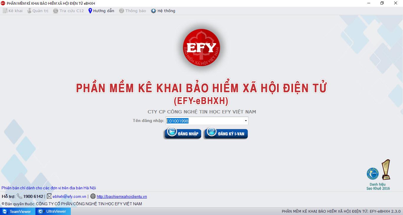 đăng nhập trên phần mềm EFY-eBHXH