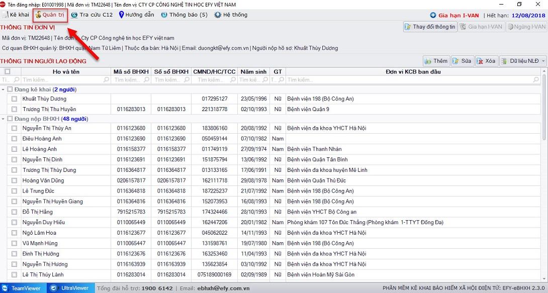 Phần quản trị trên phần mềm kê khai bhxh điện tử EFY-eBHXH