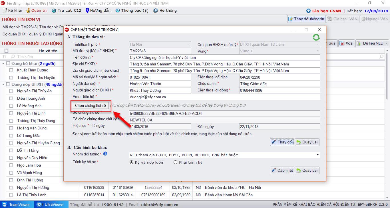 chọn chứng thư số mới trên phần mềm kê khai bhxh điện tử EFY-eBHXH