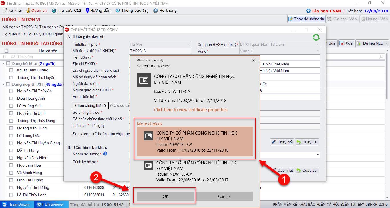 Chọn thông tin chứng thư số mới trên phần mềm EFY-eBHXH