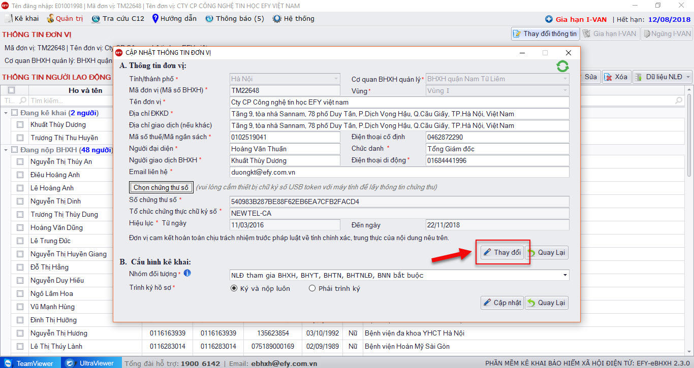 Chọn chức năng thay đổi trên phần mềm EFY-eBHXH
