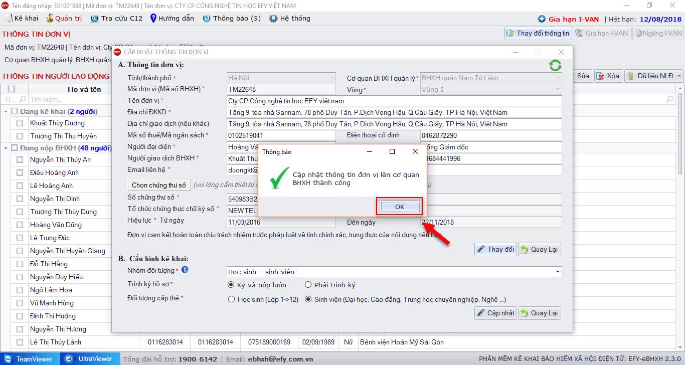 Thay đổi thông tin thành công trên phần mềm EFY-eBHXH