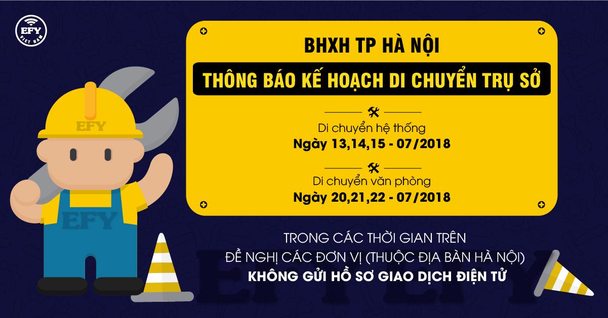 BHXH TP Hà Nội thông báo kế hoạch di chuyển trụ sở
